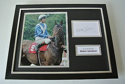 Walter Swinburn SIGNED FRAMED Photo Autograph 16x12 display Horse Racing & COA