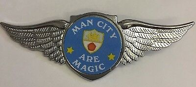 Manchester City Are Magic SILVER WINGS INSERT FOOTBALL BADGE **FREE POST**