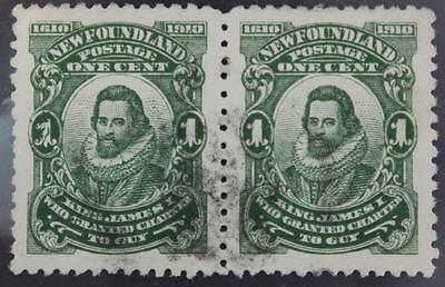 Newfoundland #87 Used Pair, Pitted/Cracked Plate Variety Left Stamp