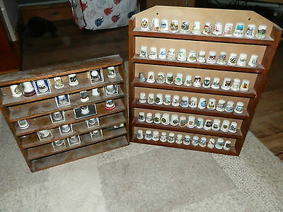 Collection of 94 china thimbles and 2 Wooden display cases