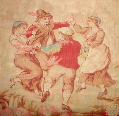 BEAUTIFUL FRAGMENT 19th CENTURY TOILE DE JOUY, DANCERS FLOWERS REF, PROJECTS