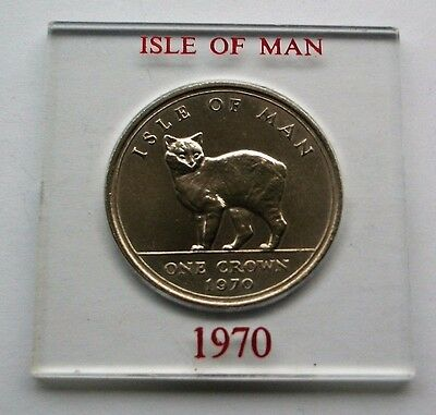 1970 Manx Cat Crown Britain's Last Five Shillings Coin Isle Of Man Coin In Mount