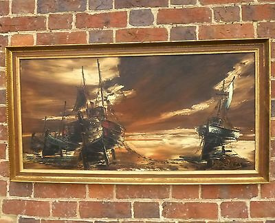 Large 20thc Signed Oil Painting Framed Continental Landscape Painting Boats
