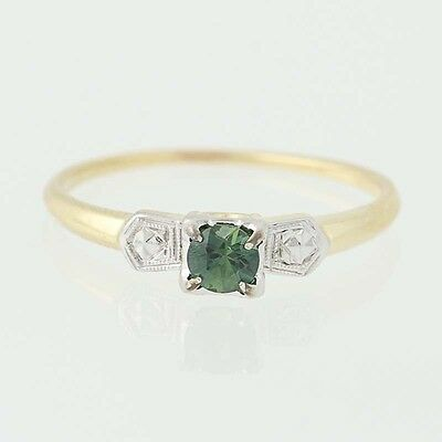 Art Deco Sapphire Engagement Ring - 14k Yellow Gold Vintage Solitaire .28ct