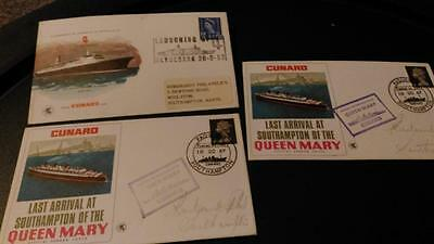3 Vintage Cunard Queen Mary 1 first day covers from1967