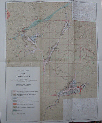 Geological Map Idaho Basin Idaho City Centerville Placerville Pioneerville 1898