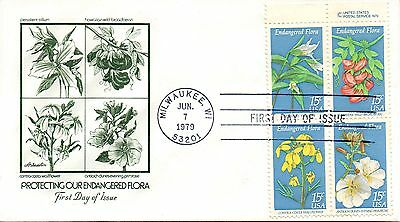 US FDC #1786a Endangered Flora Copyright Block, Artmaster (0417)