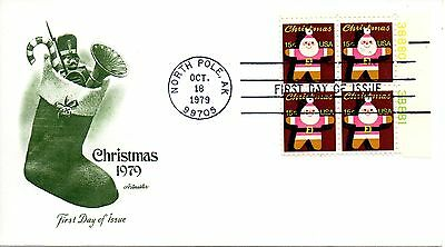 US FDC #1800 Christmas Plate Block, Artmaster (0476)