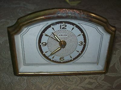 """Rare Antique Clock Working Wind Up Alarm Clock  """" Heirloom""""   Made In Germany"""