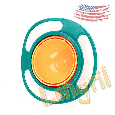 US Creative Baby No Spill Feeding Toddler Kids Gyro 360 Rotating Bowl Dishes Fun