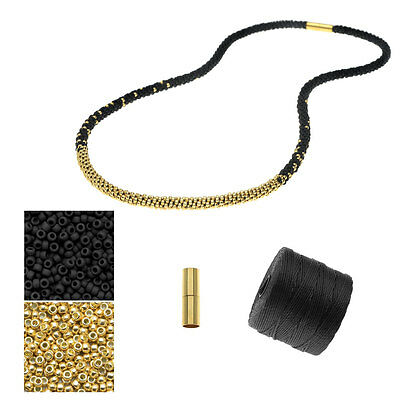 Refill Long Beaded Kumihimo Necklace Black & Gold Exclusive Beadaholique Kit