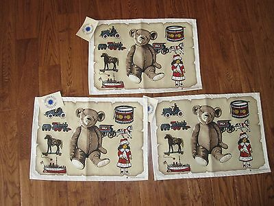 3 New Smithsonian Institution Institute Placemats americana bear train NEW NWT
