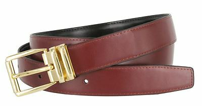 "Men's Genuine Leather Reversible 1-1/8"" Wide Black Burgundy Casual Dress Belt"