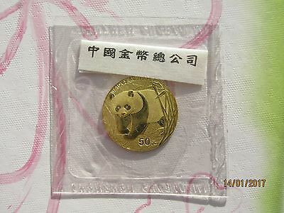 China 2002, 50 Yuan WWF Panda 1/10 oz 999er Gold, VOP/OMP