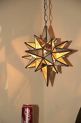 """Moravian 14.5"""" antique mirror and clear glass combination star"""