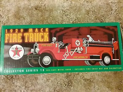 Texaco Bank #15 1929 Mack Fire Truck W/ Dalmatian