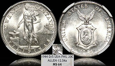 1944-D/D Philippines 20 Centavos ~ Allen#12.04b RPM ~ NGC MS64 ~ Mislabeled Slab