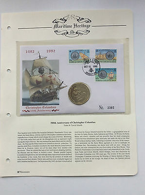 STAMP & COIN  F. D.C. 500th ANNIVERSARY OF CHRISTOPHER COLUMBUS.  1992.