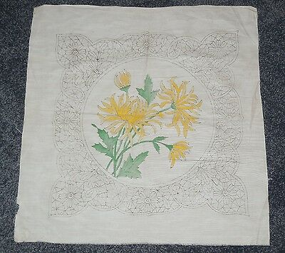 Antique Arts and Crafts Pillow Top Embroider Royal Society Yellow Chrysanthemums