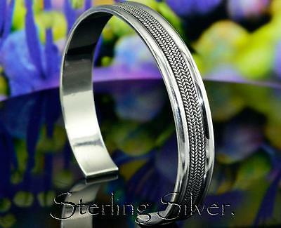 SB-187 Finely Made Solid 925 Sterling Silver Wristband Cuff Bangle Men Bracelet.