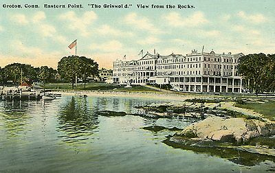 """Groton Conn. Eastern Point  """"the Griswold"""" View From The Rocks Postcard"""