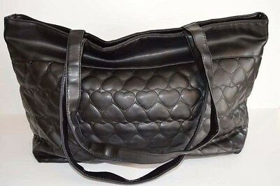 Victoria Secret black shopping tote purse quilted hearts snap closure