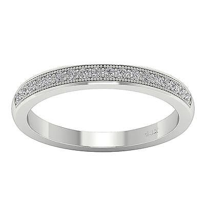 VVS1 F 0.30Ct Real Diamond Anniversary Wedding Ring Band Pave Set 14K White Gold