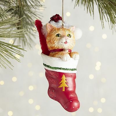 Park Avenue Pets Collection Orange Tabby Cat in Stocking Ornament