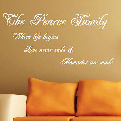 Personalised Family Name Where Life Begin Art Wall Sticker Quotes Decals 224