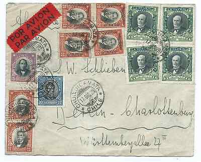 Chile 1929 Airmail cover Chuquicamata to Berlin Germany nice franking must see