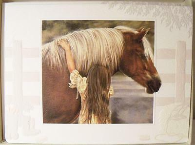 """8 Blank Note Cards & Envelopes~In Orig Box~Young Girl with Horse """"FIRST LOVE"""""""