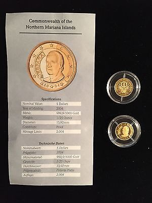 2004 Proof Spain Commonwealth Northern Mariana Islands Genuine $5 Gold Coin
