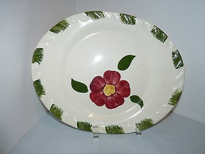 Platter Red Flower Blue Ridge Southern Potteries ? 12 1/4""