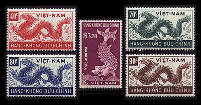 State of Vietnam 1952 Dragons, The Second Airmail Sets C5-C9 Con Rồng MNH