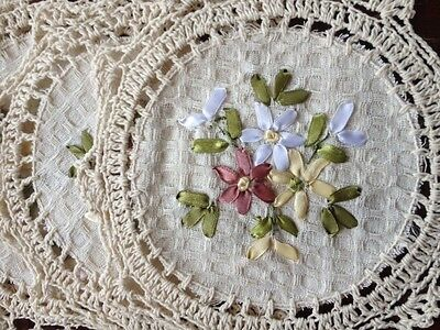 "6 PCS 8"" Round  Crochet Lace Doily COLOR BEIGE  100 % COTTON"
