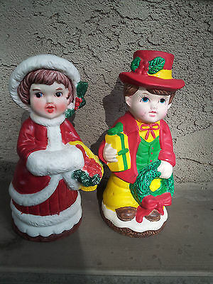 Vintage christmas Boy and Girl Plaster Coin Banks-Made in Taiwan-7 inches tall