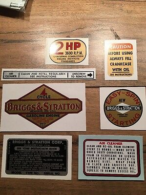 Briggs & Stratton 1961-1963 decal  Aluminum 2-hp Vertical shaft Set of 7