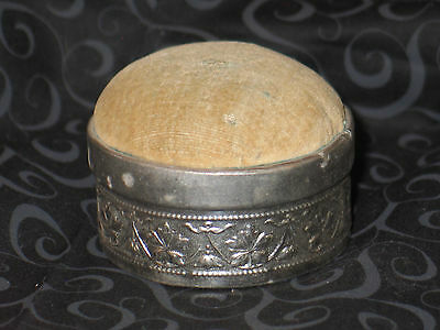 Antique Art Deco Pin Cushion- Hat Pin Holder Sewing Box-Embossed Reposse Tin