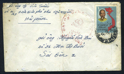 VIETNAM Cover from Hai Phong to Sai Gon with Propoganda Postmarked (L165)