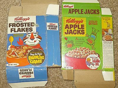 2 VINTAGE CEREAL BOXES Toy Kellogg's Frosted Flakes Apple Jacks 1973