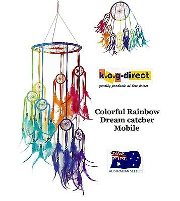 Dream Catcher Colorful Rainbow Dreamcatcher Mobile With Feathers Beads Dreammobj