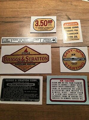 Briggs & Stratton 1961-1963 decal  Aluminum 3.50-hp Vertical shaft Set of 7