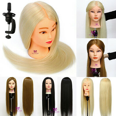 "22""-28"" Real Hair Hairdressing Training Practice Head Mannequin Doll + Clamp New"
