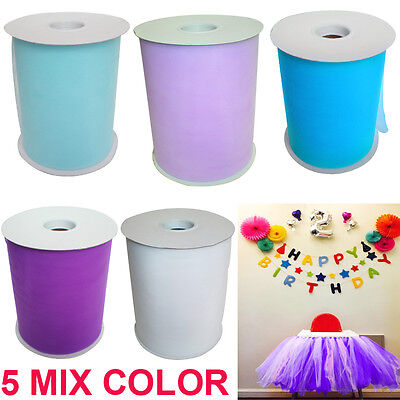 """5 Pack MIX 6"""" x 100 yard Tutu Tulle Roll Soft Netting Graft Fabric Wedding Color"""