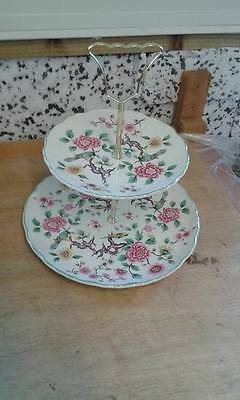 Vintage Retro Chintz James Kent Old Foley Chinese Rose Two Tier Cake Stand