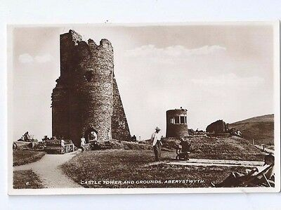 Postcard Castle Tower & Grounds Aberystwyth Constance  RP Cardigan