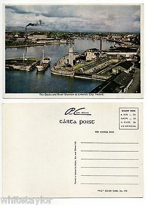 Docks And River Shannon Limerick City Ireland Old Postcard