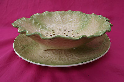 MINTON Antique C19 Green & Yellow Leaf Shaped Cress Drainer and Stand