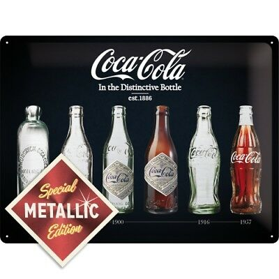 Blechschild 63306 - Coca-Cola Bottle Timeline - Metallic Edition - 30X40 cm -Neu
