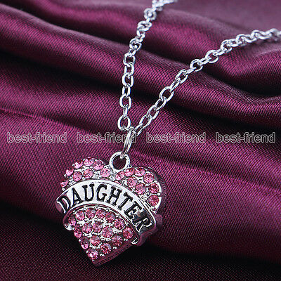 Family Gift Silver Tone Daughter Pink Crystal Heart Charm Pendant Necklace Chain